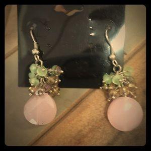 Jewelry - Pink & light green Stone  earrings